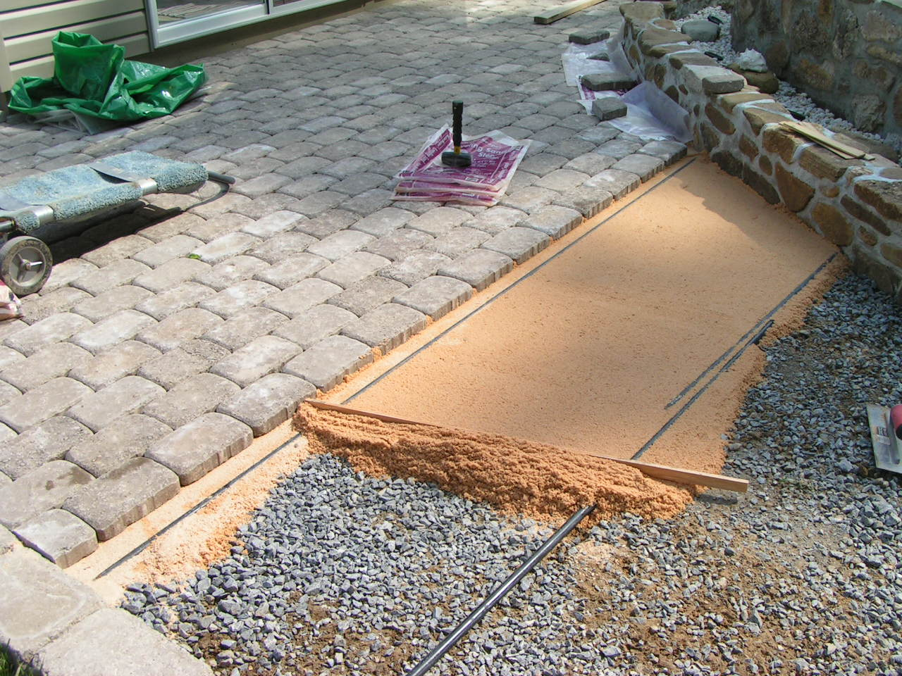 Elegant Leveling The Sand For The Pavers